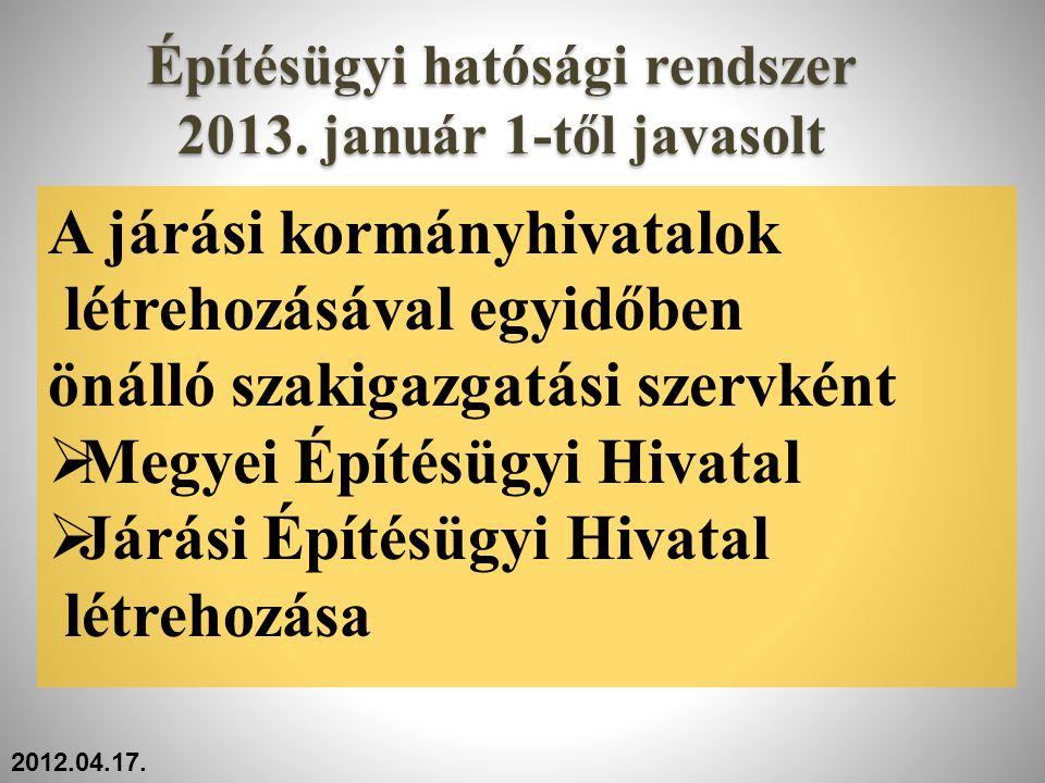 Építésügyi hatósági rendszer 2013. január 1-től javasolt