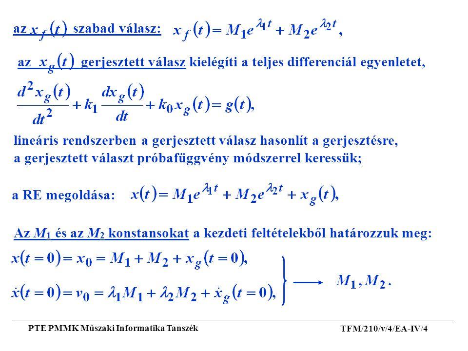 az gerjesztett válasz kielégíti a teljes differenciál egyenletet,