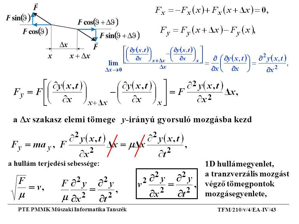 a Dx szakasz elemi tömege y-irányú gyorsuló mozgásba kezd