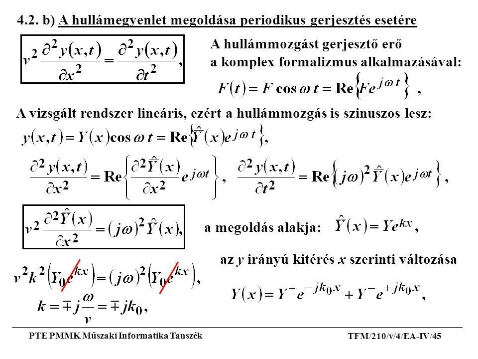 4.2. b) A hullámegyenlet megoldása periodikus gerjesztés esetére