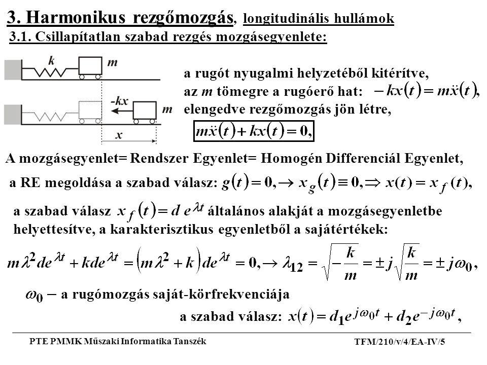 3. Harmonikus rezgőmozgás, longitudinális hullámok