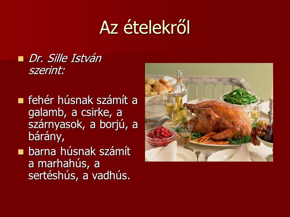 Az ételekről Dr. Sille István szerint: