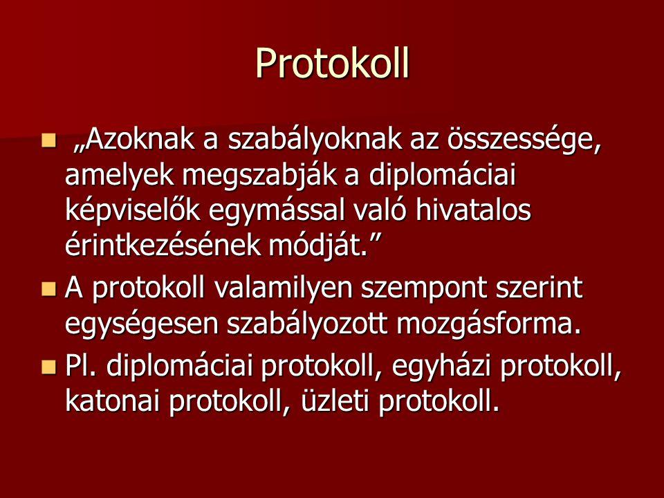 """Protokoll """"Azoknak a szabályoknak az összessége, amelyek megszabják a diplomáciai képviselők egymással való hivatalos érintkezésének módját."""