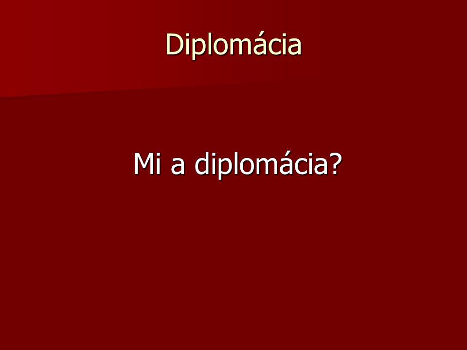 Diplomácia Mi a diplomácia