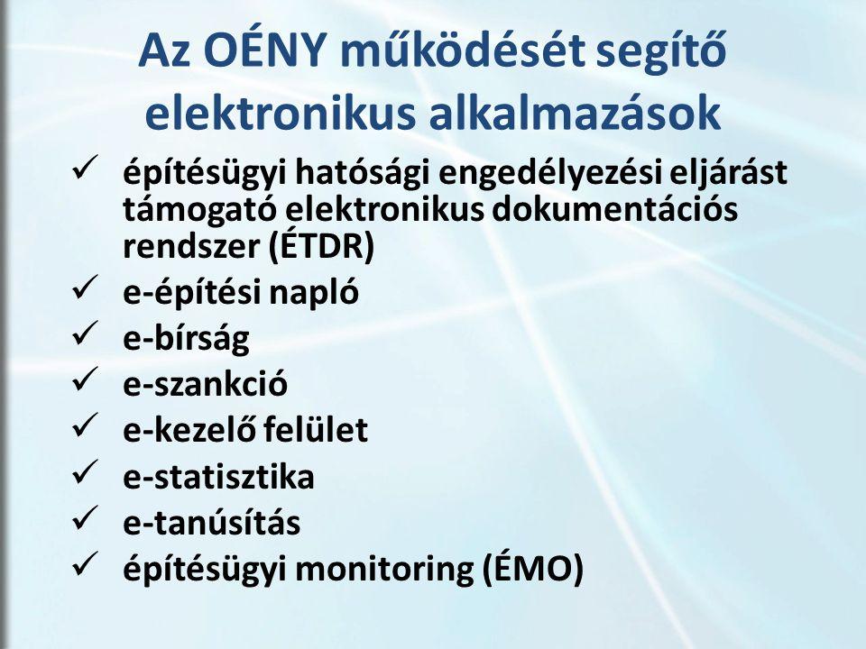 Az OÉNY működését segítő elektronikus alkalmazások