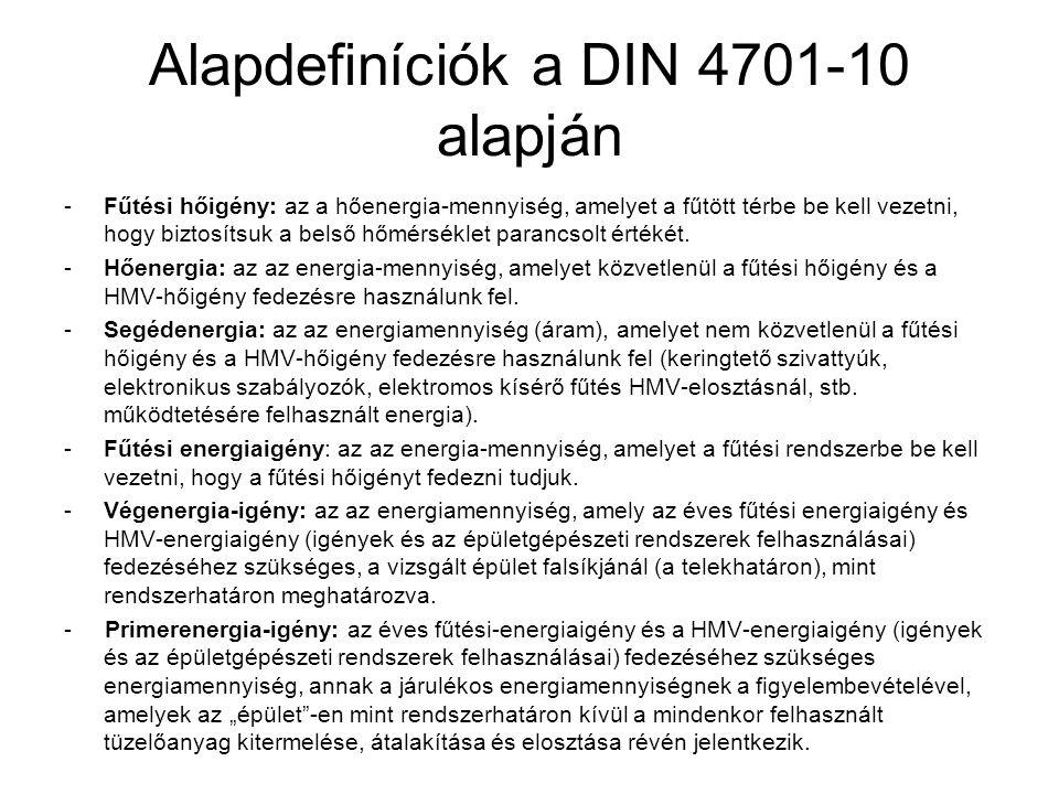 Alapdefiníciók a DIN 4701-10 alapján