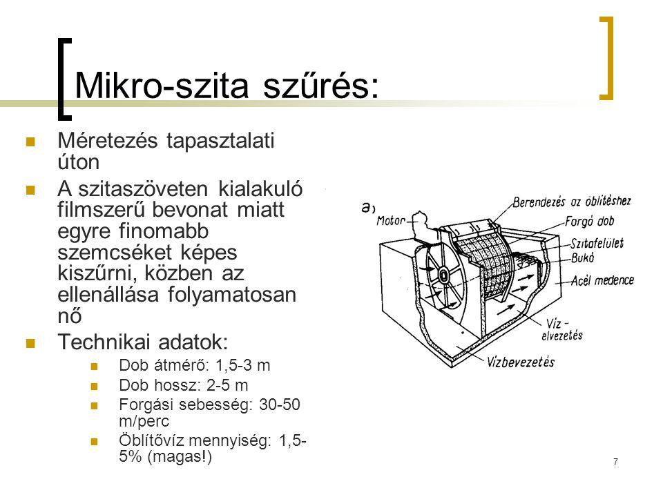 Mikro-szita szűrés: Méretezés tapasztalati úton