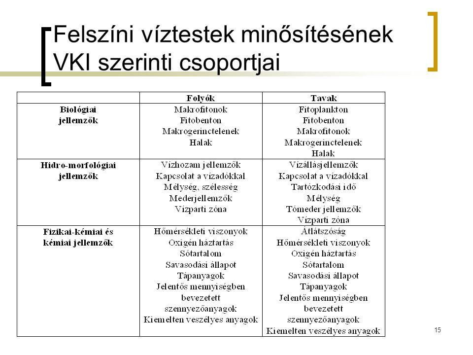 Felszíni víztestek minősítésének VKI szerinti csoportjai