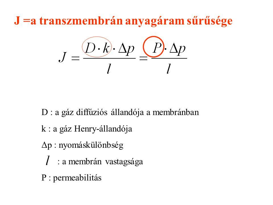 J =a transzmembrán anyagáram sűrűsége