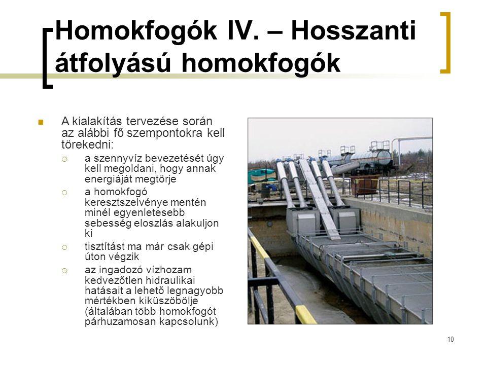 Homokfogók IV. – Hosszanti átfolyású homokfogók