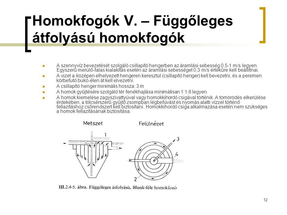 Homokfogók V. – Függőleges átfolyású homokfogók