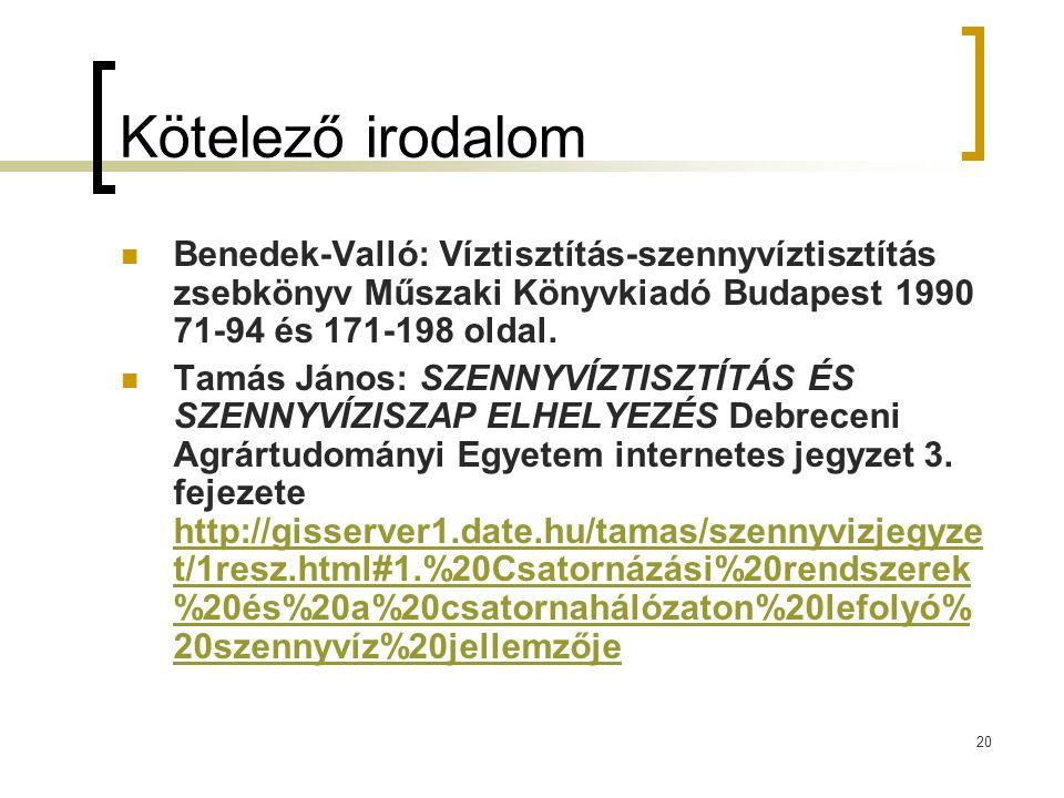 Kötelező irodalom Benedek-Valló: Víztisztítás-szennyvíztisztítás zsebkönyv Műszaki Könyvkiadó Budapest 1990 71-94 és 171-198 oldal.