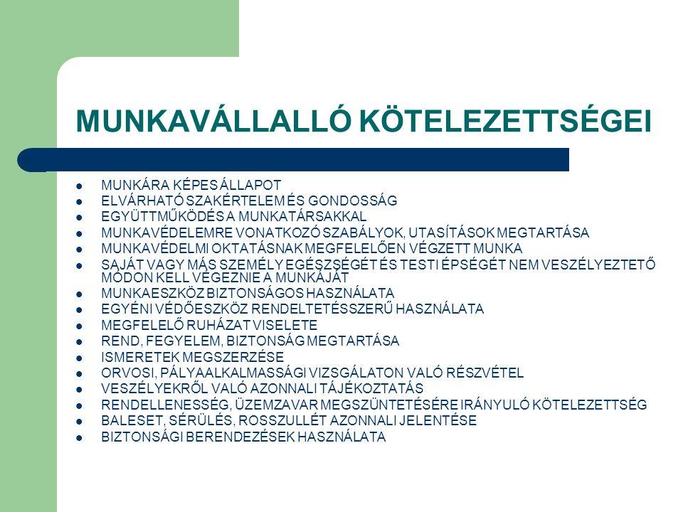 MUNKAVÁLLALLÓ KÖTELEZETTSÉGEI