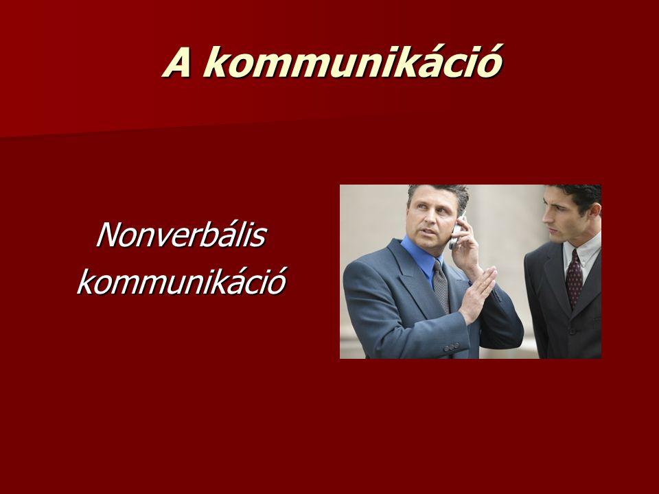 A kommunikáció Nonverbális kommunikáció