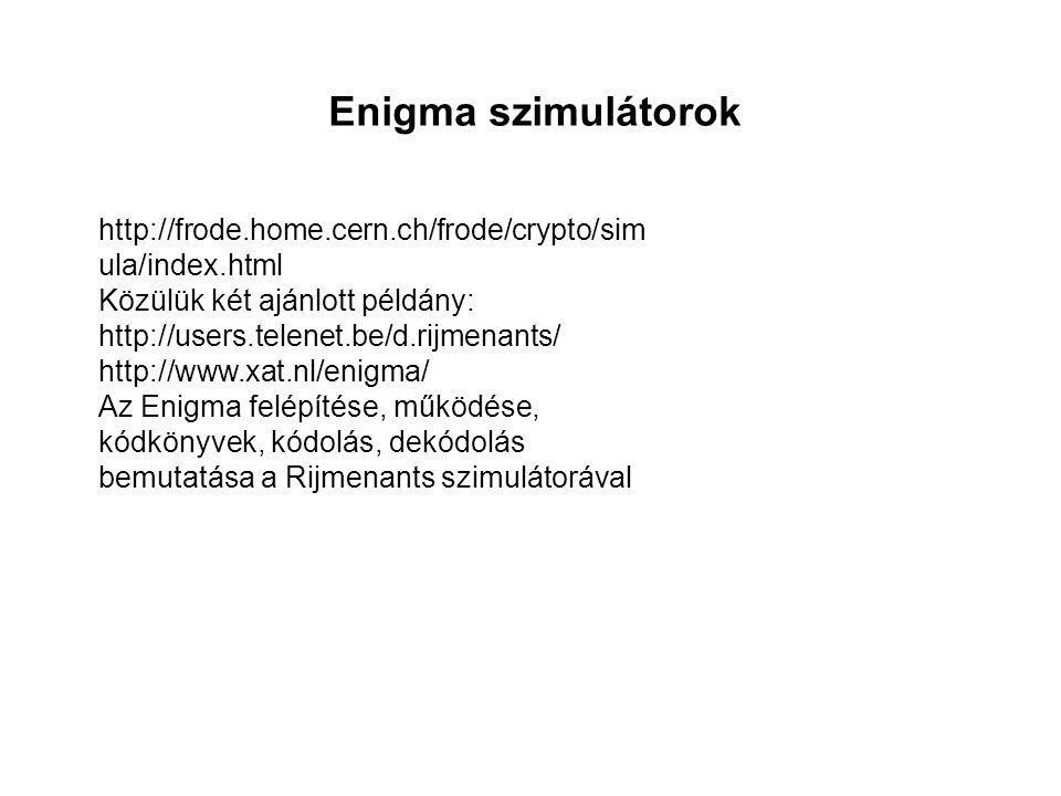 Enigma szimulátorok http://frode.home.cern.ch/frode/crypto/sim