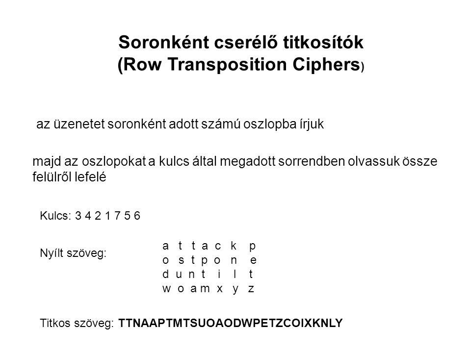 Soronként cserélő titkosítók (Row Transposition Ciphers)