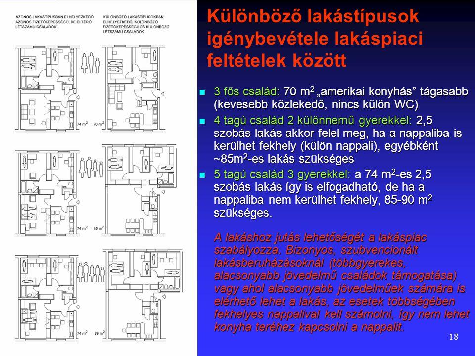 Különböző lakástípusok igénybevétele lakáspiaci feltételek között