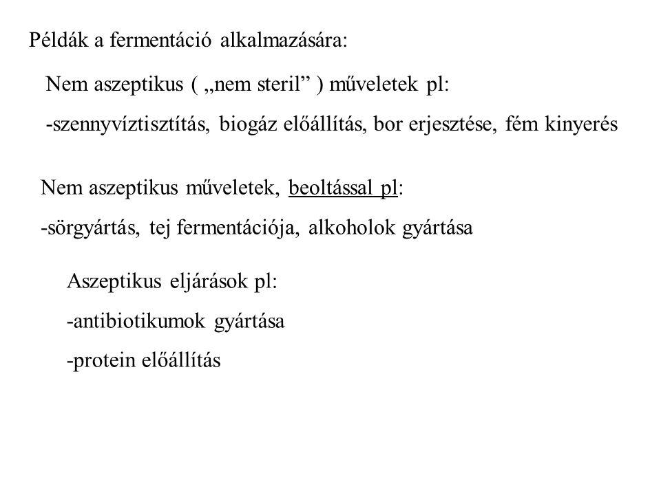 Példák a fermentáció alkalmazására:
