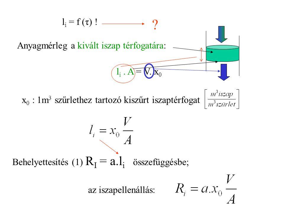 li = f (τ) ! Anyagmérleg a kivált iszap térfogatára: li . A = V. x0