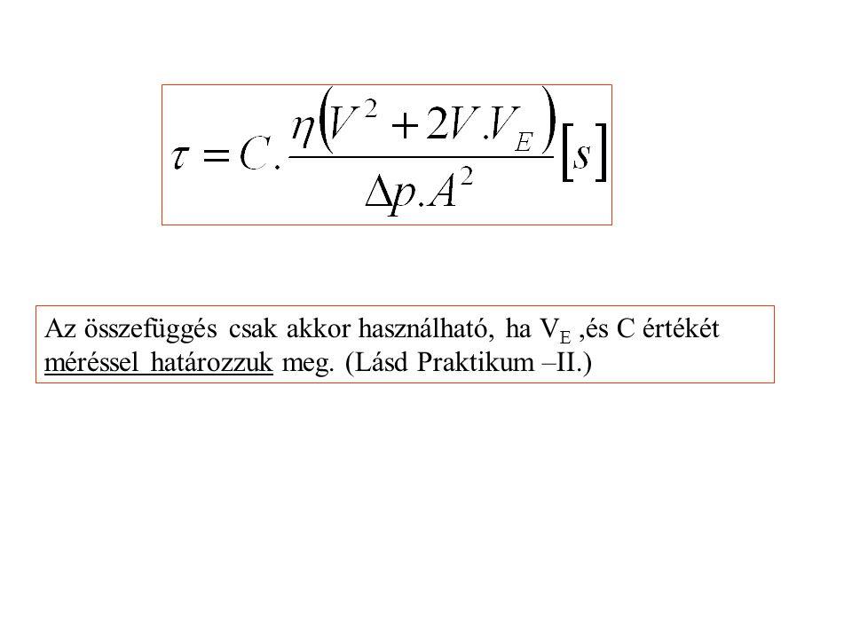 Az összefüggés csak akkor használható, ha VE ,és C értékét méréssel határozzuk meg.