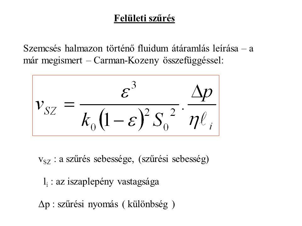 Felületi szűrés Szemcsés halmazon történő fluidum átáramlás leírása – a már megismert – Carman-Kozeny összefüggéssel: