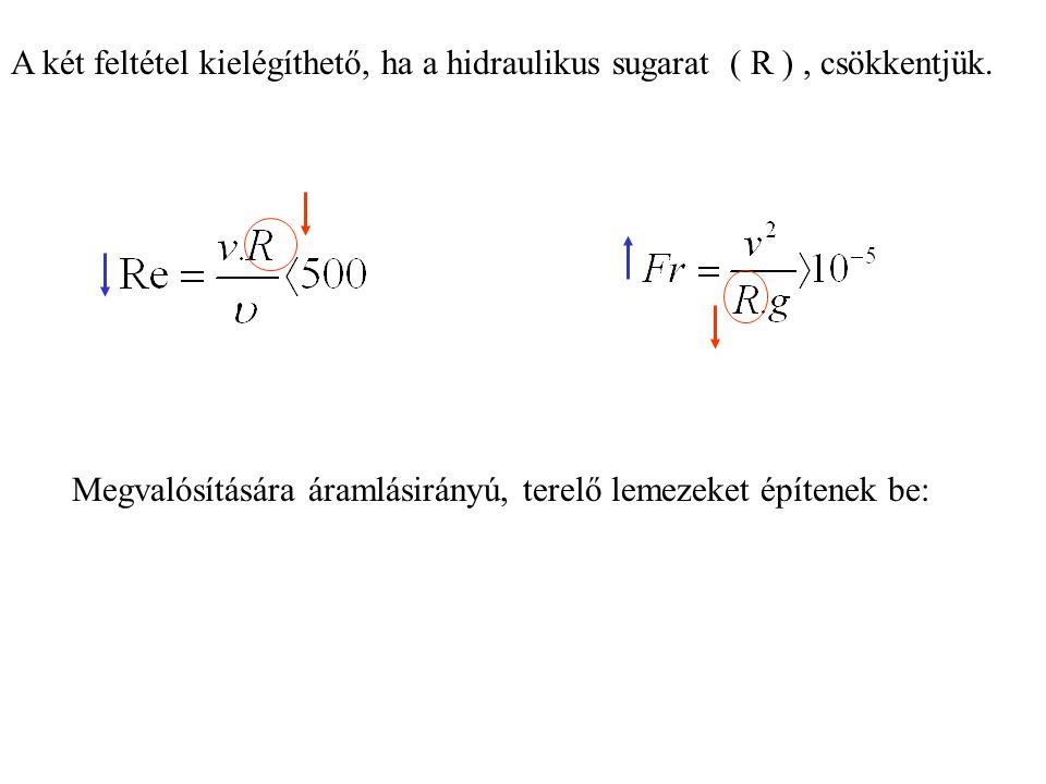 A két feltétel kielégíthető, ha a hidraulikus sugarat ( R ) , csökkentjük.