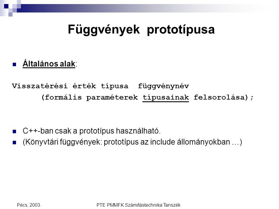 Függvények prototípusa