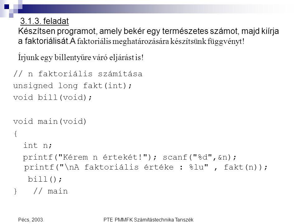PTE PMMFK Számítástechnika Tanszék