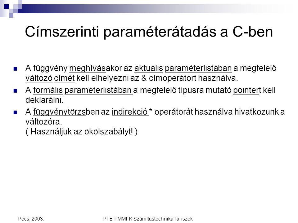 Címszerinti paraméterátadás a C-ben