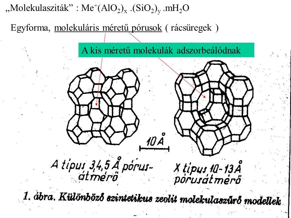 """Molekulasziták : Me+(AlO2)x .(SiO2)y .mH2O"