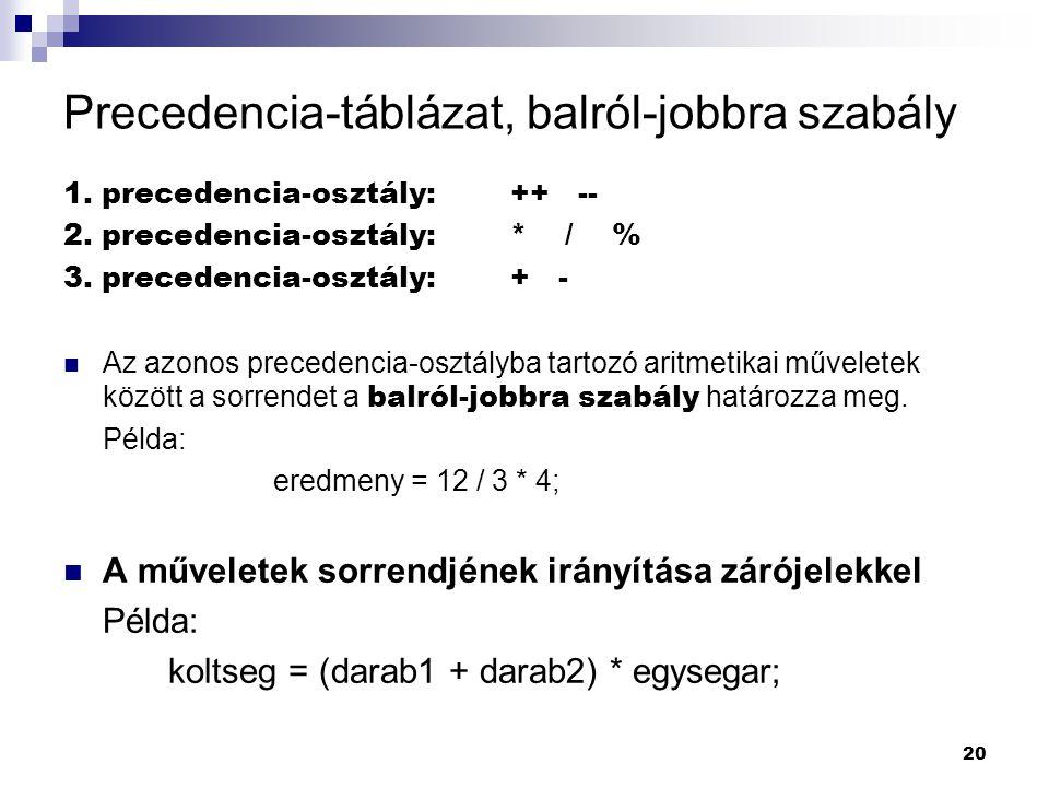 Precedencia-táblázat, balról-jobbra szabály