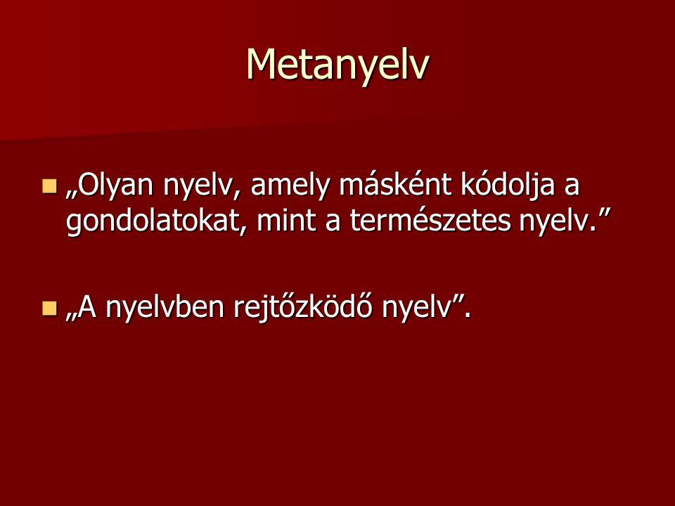 """Metanyelv """"Olyan nyelv, amely másként kódolja a gondolatokat, mint a természetes nyelv. """"A nyelvben rejtőzködő nyelv ."""