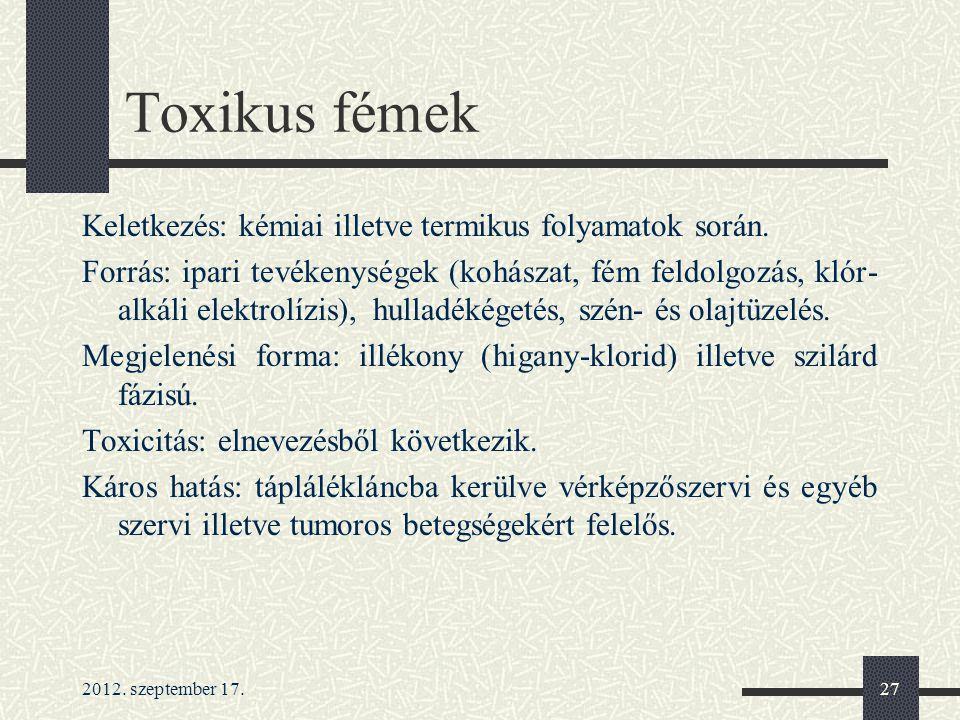 Toxikus fémek Keletkezés: kémiai illetve termikus folyamatok során.