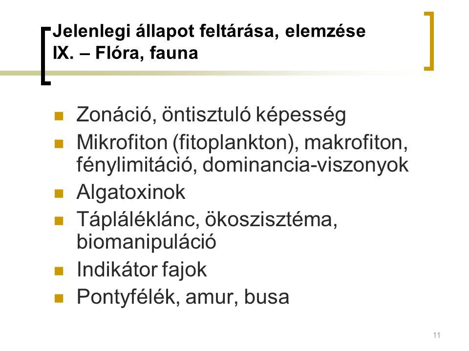 Jelenlegi állapot feltárása, elemzése IX. – Flóra, fauna