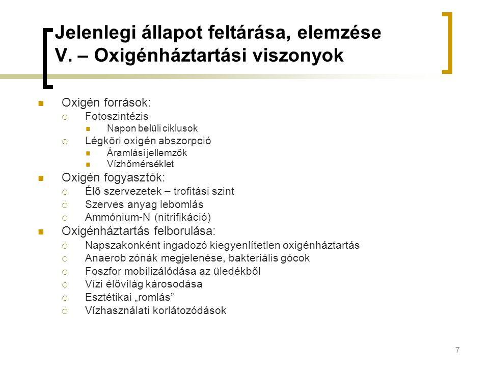 Jelenlegi állapot feltárása, elemzése V. – Oxigénháztartási viszonyok