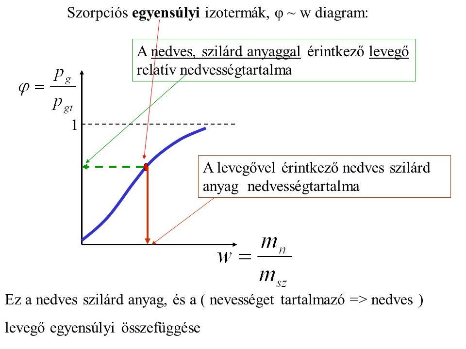 Szorpciós egyensúlyi izotermák, φ ~ w diagram: