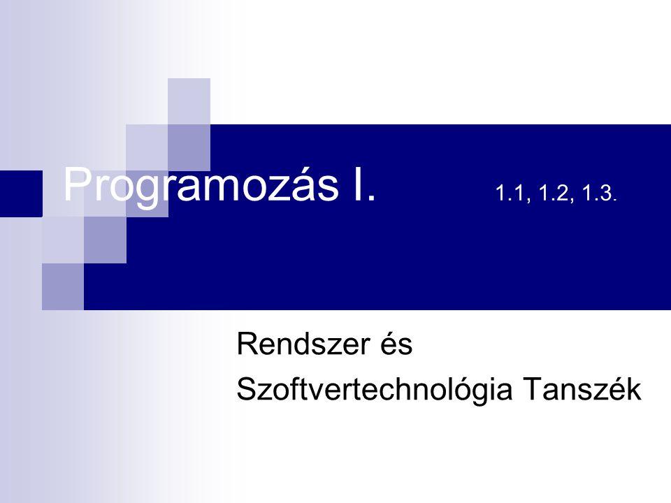 Rendszer és Szoftvertechnológia Tanszék