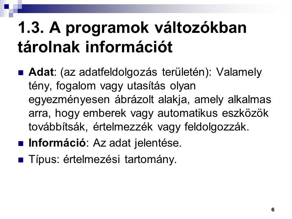 1.3. A programok változókban tárolnak információt
