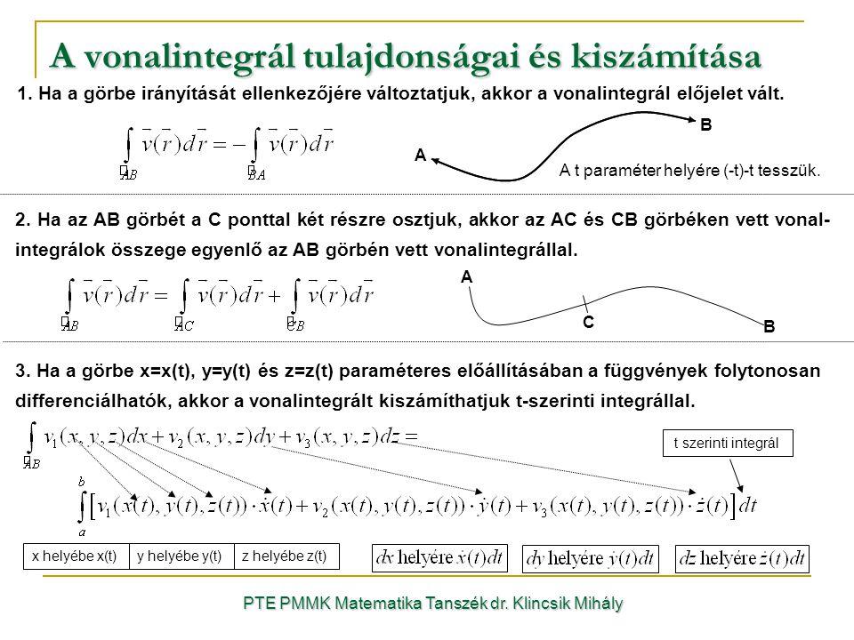 A vonalintegrál tulajdonságai és kiszámítása