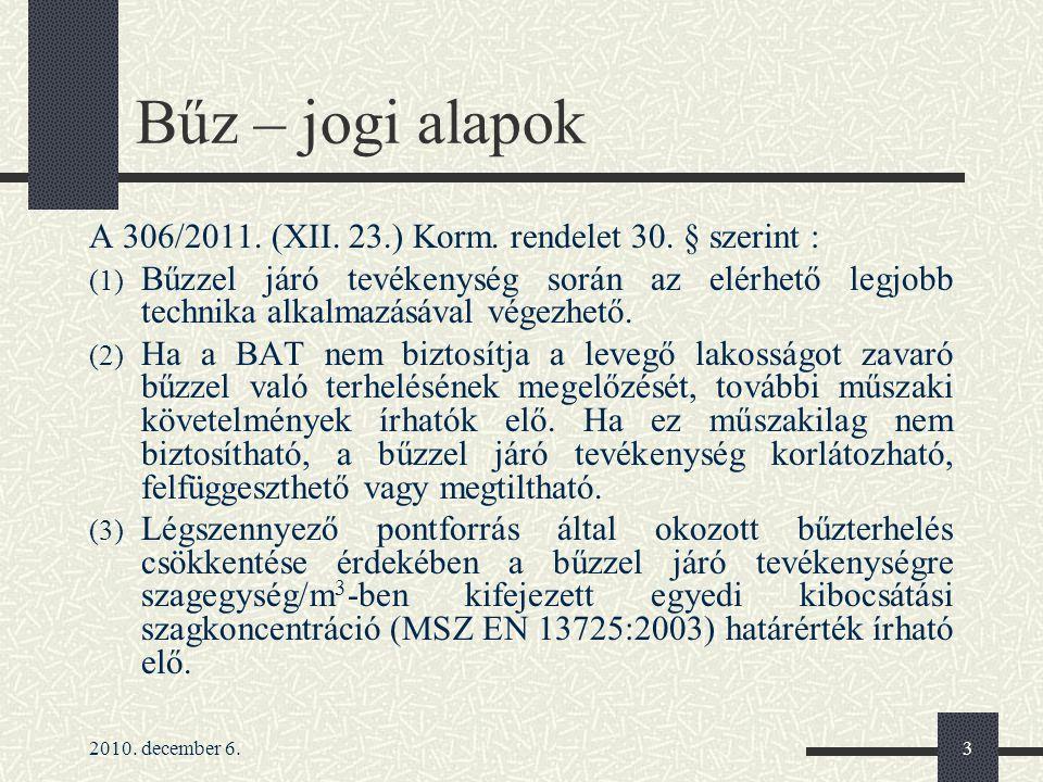 Bűz – jogi alapok A 306/2011. (XII. 23.) Korm. rendelet 30. § szerint :