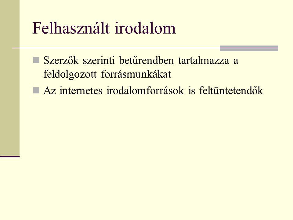 Felhasznált irodalom Szerzők szerinti betűrendben tartalmazza a feldolgozott forrásmunkákat.