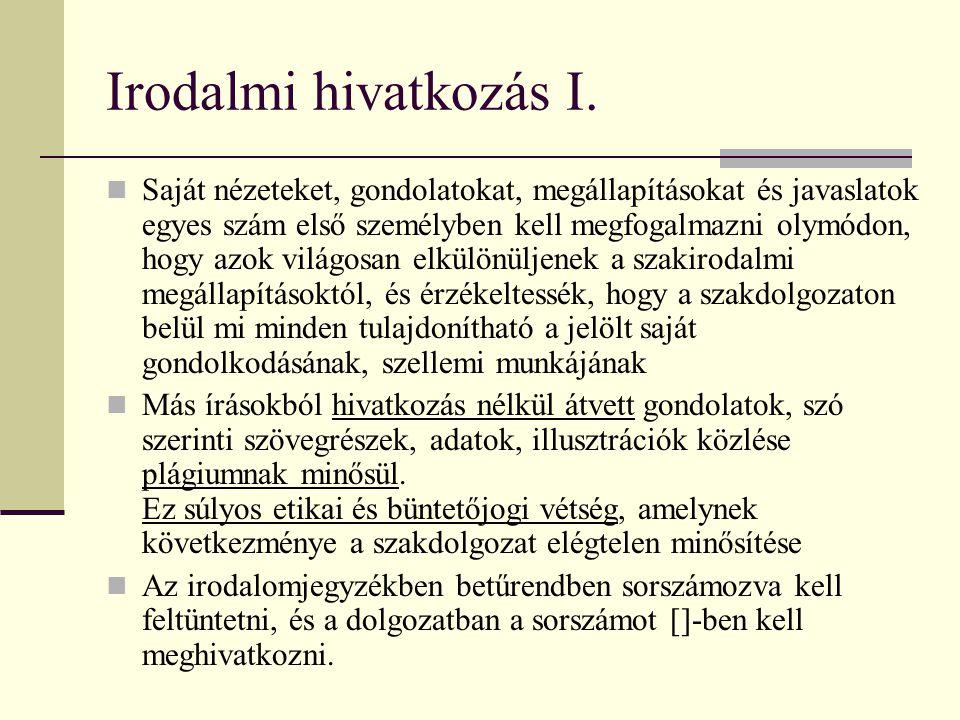 Irodalmi hivatkozás I.
