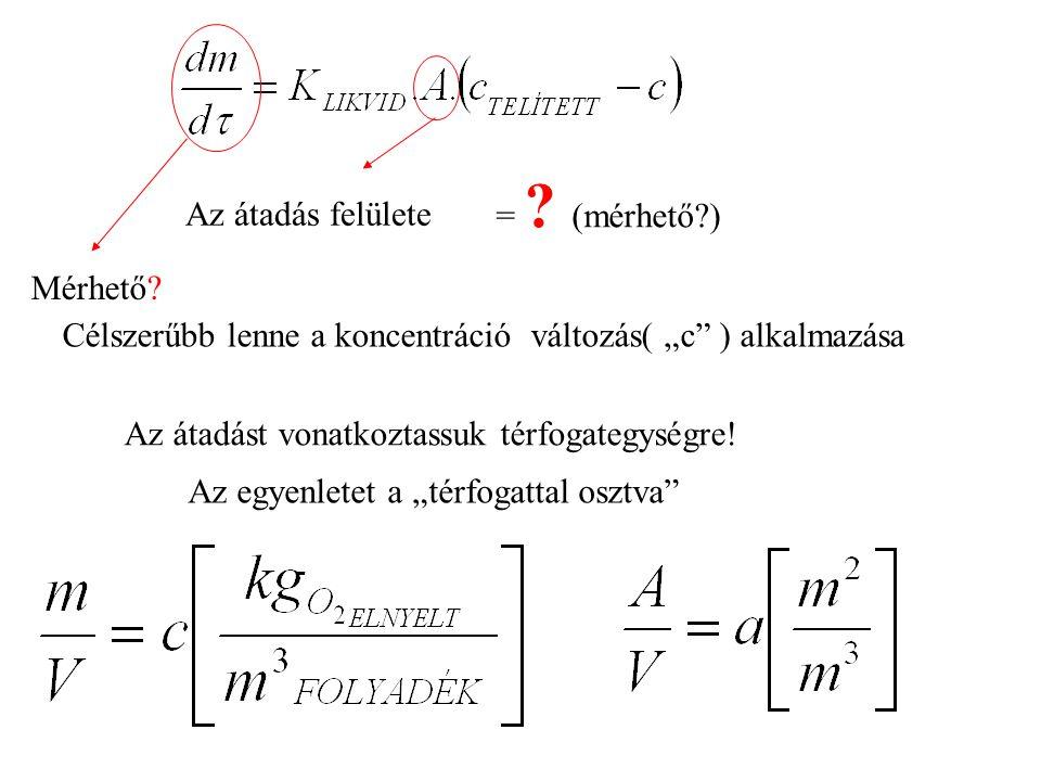 """Az átadás felülete = (mérhető ) Mérhető Célszerűbb lenne a koncentráció változás( """"c ) alkalmazása."""