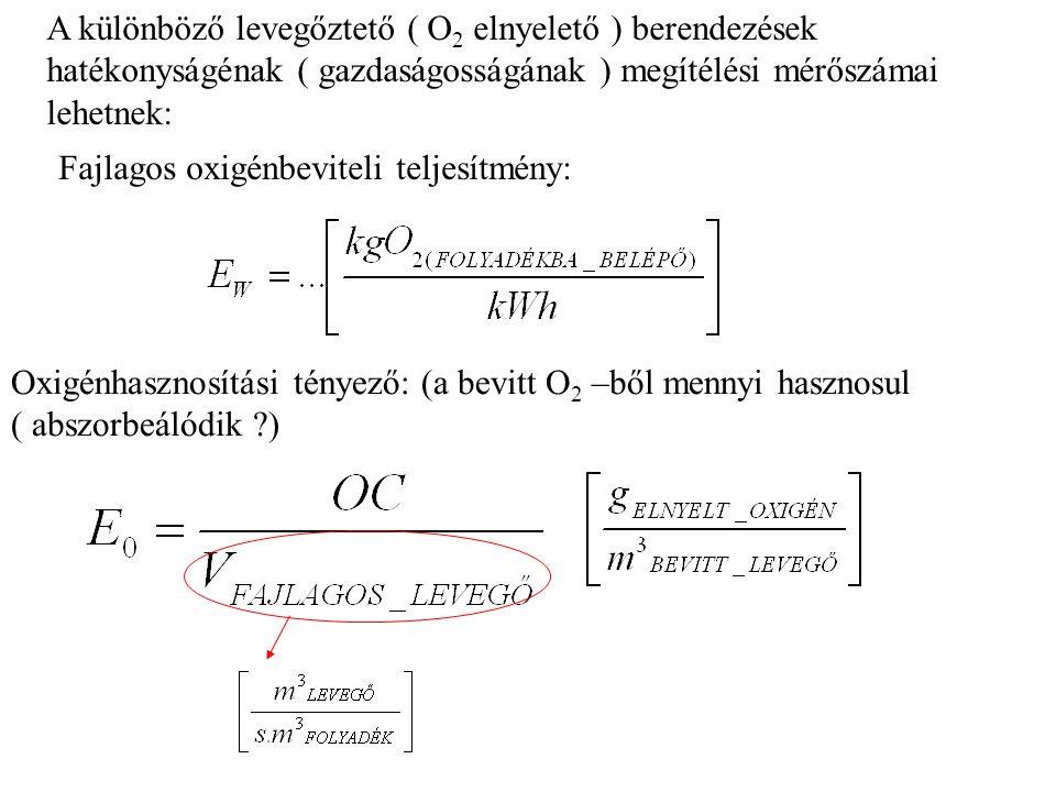 A különböző levegőztető ( O2 elnyelető ) berendezések hatékonyságénak ( gazdaságosságának ) megítélési mérőszámai lehetnek: