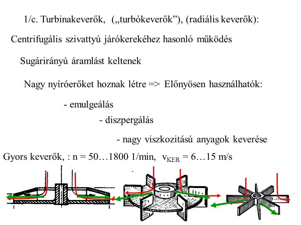 """1/c. Turbinakeverők, (""""turbókeverők ), (radiális keverők):"""