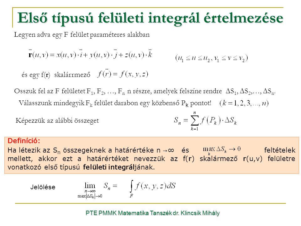 Első típusú felületi integrál értelmezése