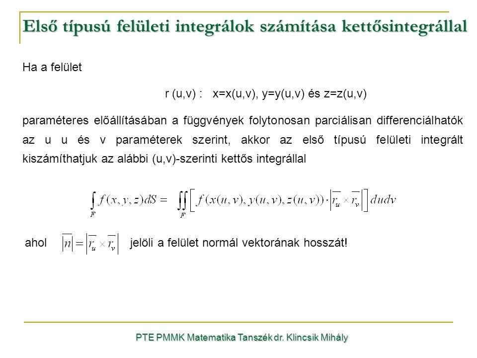 Első típusú felületi integrálok számítása kettősintegrállal