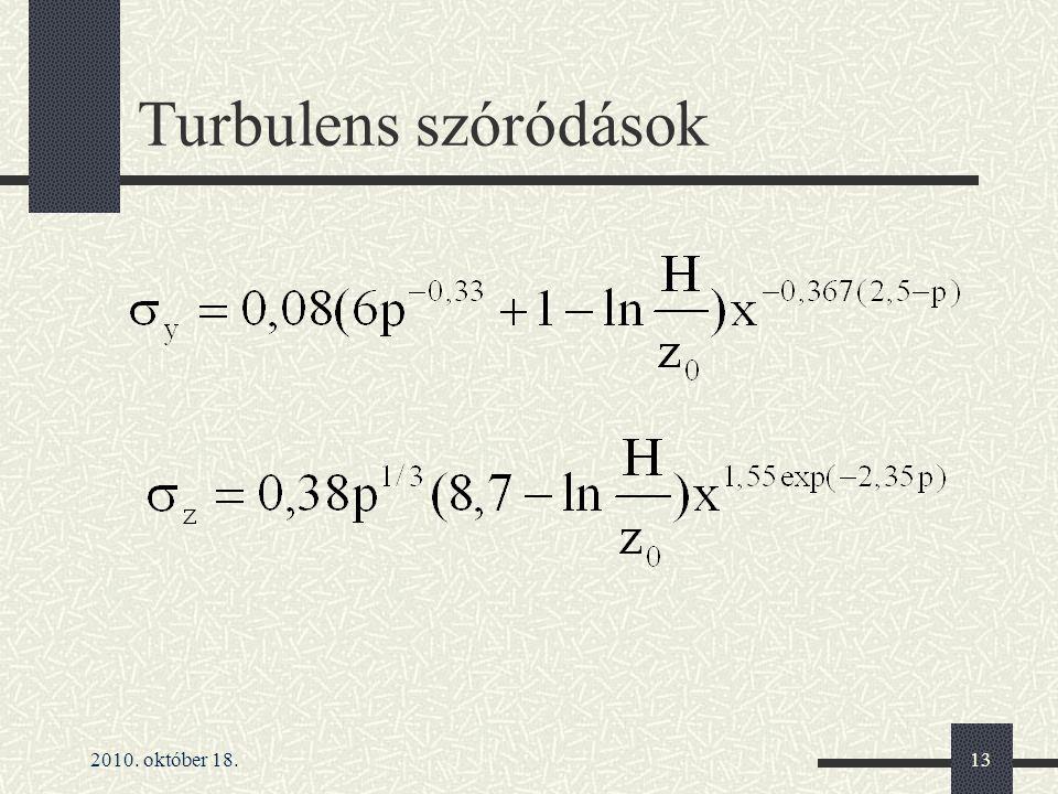 Turbulens szóródások 2010. október 18.