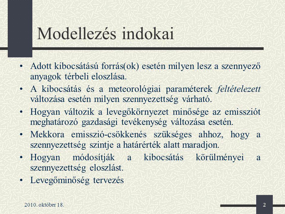 Modellezés indokai Adott kibocsátású forrás(ok) esetén milyen lesz a szennyező anyagok térbeli eloszlása.