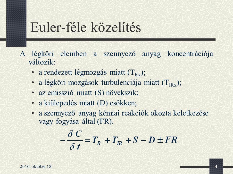 Euler-féle közelítés A légköri elemben a szennyező anyag koncentrációja változik: a rendezett légmozgás miatt (TRx);
